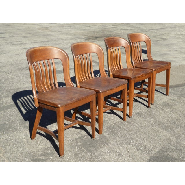 Set of 4 Vintage Mid-Century Brown Solid Wood Farmhouse Chic Library School House Chairs - Image 2 of 11