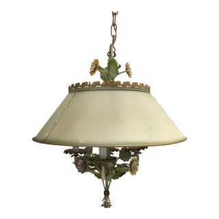 Mid 20th Century Vintage Italian Tole 4 Light Chandelier With Flowers Leaves and Tole Shade For Sale