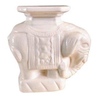 Mid 20th Century Vintage Ceramic White Elephant Candleholder For Sale