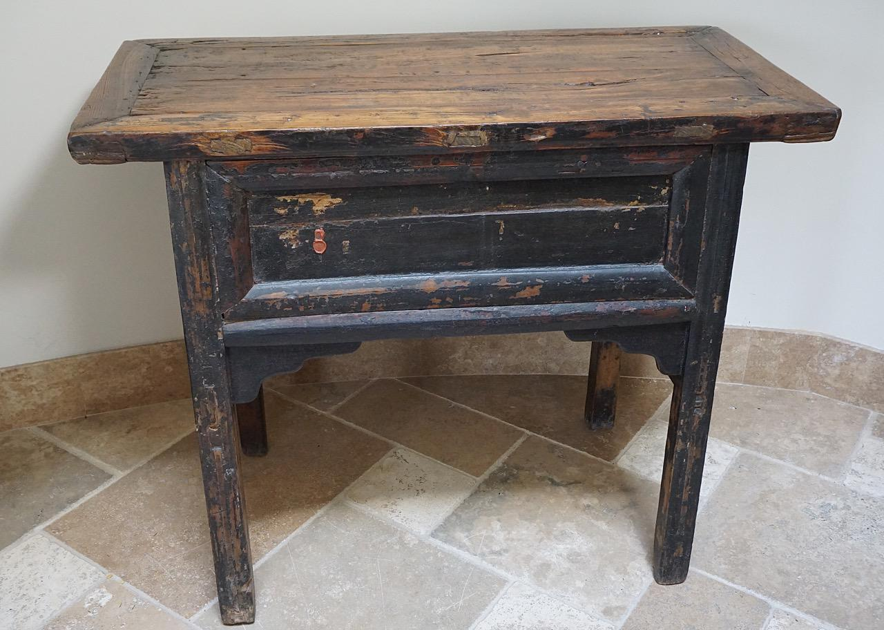Primitive Painted Antique Asian Console Table   Image 7 Of 10