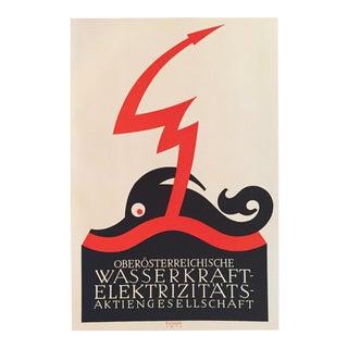 1927 Julius Klinger Original Poster, Wasserkraft Elektrizitats (Poseidon)