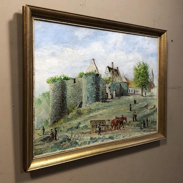 Framed Oil Painting on Canvas by F. Chantry is a splendid mid-century example of traditional pastoral works with...