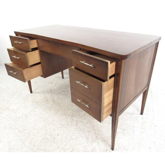Mid-Century Modern Vintage American Filing Drawer Walnut Desk For Sale - Image 3 of 10