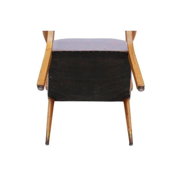 Brown Mid-Century Sculpted Walnut Frame Armchair by Stow & Davis For Sale - Image 8 of 10