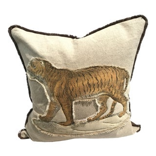 Safari Tiger Linen & Cotton Appplique Quilted Zoo Animal Design Legacy Kelly O'Neal Pillow Kid's Room For Sale