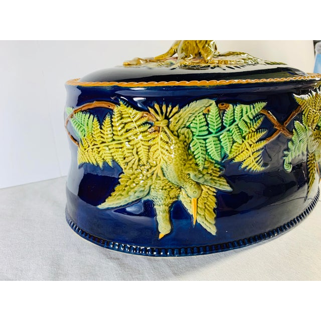 Rustic Mid 19th Century Antique Majolica Cobalt Blue Rabbit and Game Bird Tureen Dish With Lid by Brownfield For Sale - Image 3 of 11
