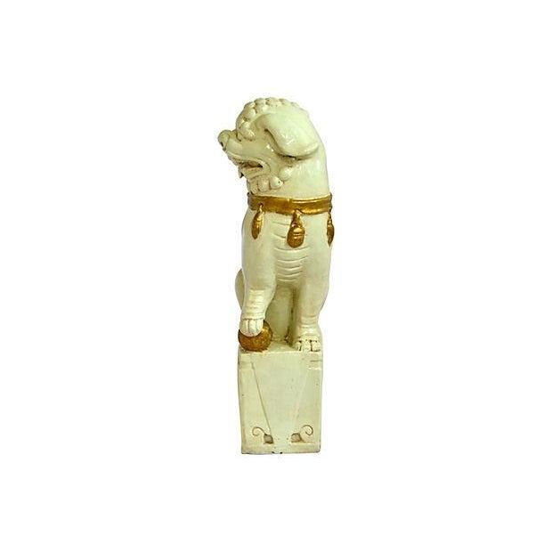 Creme and Gold Ceramic Foo Dog - Image 3 of 6