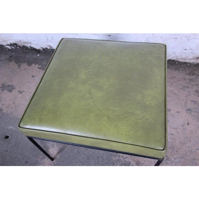 Paul McCobb Paul McCobb Green Vinyl Upholstered Iron Stool or Ottoman For Sale - Image 4 of 10
