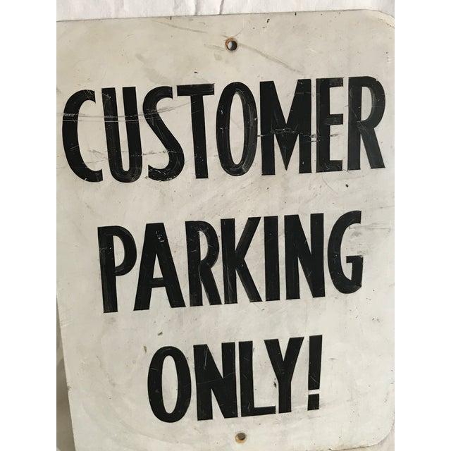 """Vintage """"Customer Parking Only"""" Metal Sign For Sale - Image 5 of 6"""