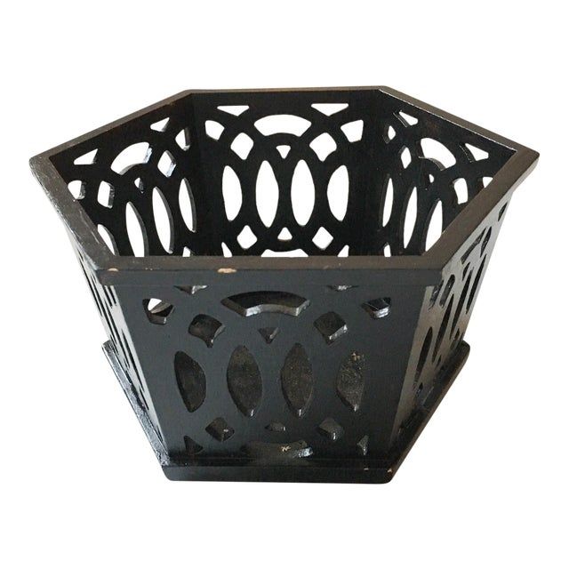 English Fretwork Octagonal Ebonized Wood Cachepot - Image 1 of 6