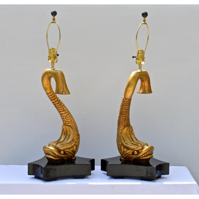 Giltwood Dolphine Lamps - a Pair For Sale - Image 10 of 10