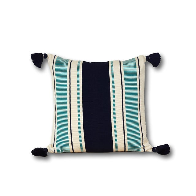 Contrasting stripes make our Cabana Stripe Pillow a timeless classic. Equally suited for the beach house or your living...
