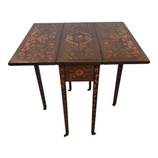 Neoclassical Dutch Marquetry Drop Leaf Pemboke Table For Sale