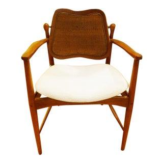 1950s Vintage Scandinavian Modern Desk Armchair by Arne Vodder in Teak and Cane For Sale