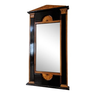 19th Century Biedermeier Mirror With Inlaid Sunburst Design For Sale