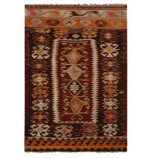 "Vintage Fetiye Crimson Wool Kilim Rug - 3'1"" x 4'6"" For Sale"