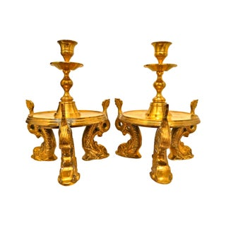 Solid Brass Dolphin Candleholders - A Pair