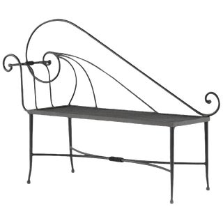 New Black Wrought Iron Bench or Chaise With One Arm and Back For Sale