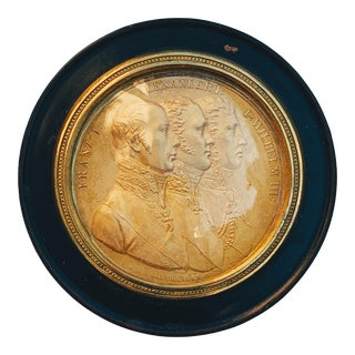 Early 19th Century Gilt Bronze Cameo Medallion in an Ebonized Small Box For Sale