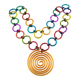 David Spada Modernist Space Age Multicolor Anodized Aluminum Pendant Necklace For Sale