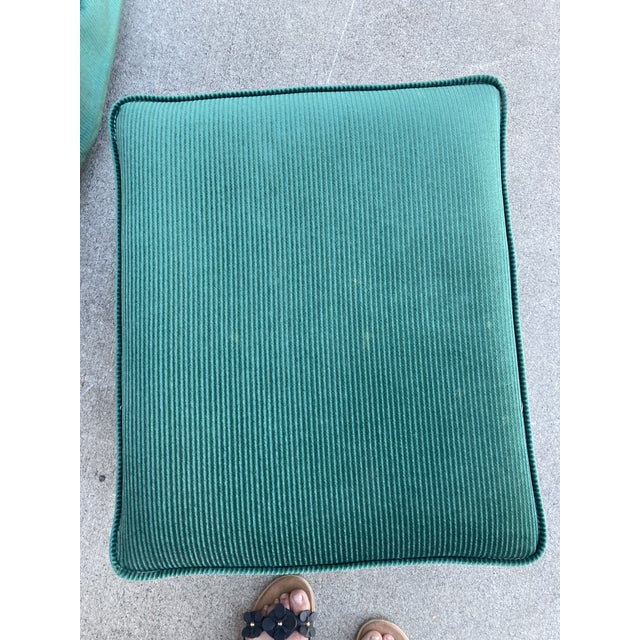 Vintage Broyhill Emerald Green Chair and Ottoman For Sale - Image 10 of 13