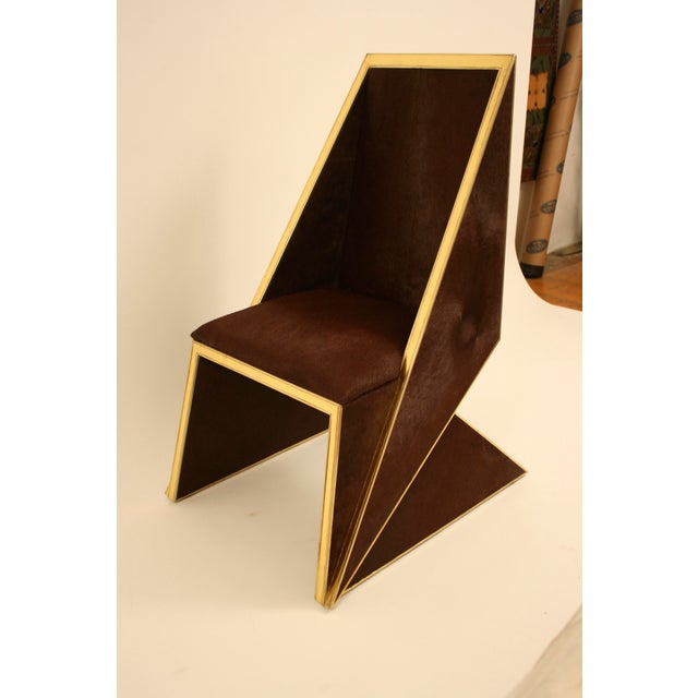 Two Toned Hide Dinning Chair by MarGian Studio For Sale - Image 11 of 11