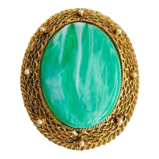 Large Green and Gold Oval Brooch With Tiny Faux Pearls For Sale