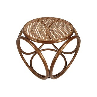 Bentwood Rattan Ottoman For Sale