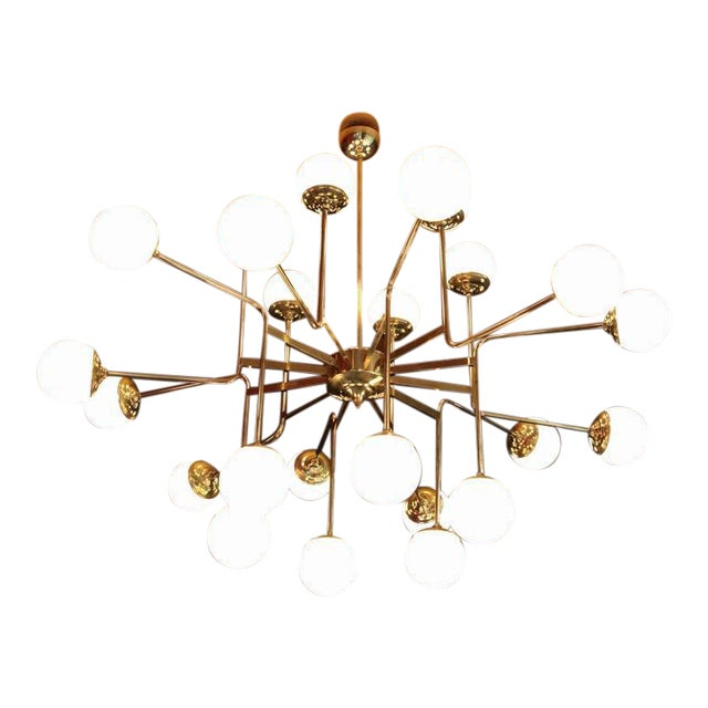 Exceptional Huge Brass Chandelier with Glass Globes in the Manner of Stilnovo For Sale
