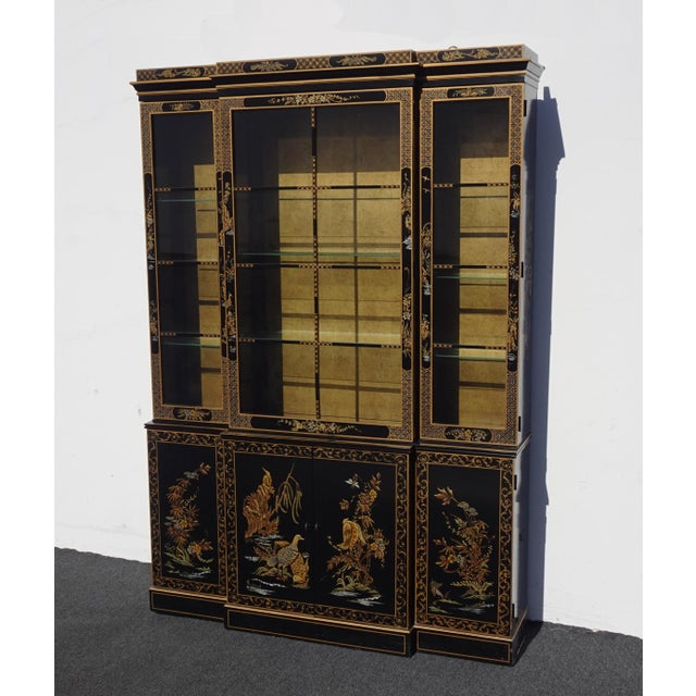 Chinoiserie Vintage Drexel Oriental Asian Chippendale Chinoiserie Black China Cabinet Hutch For Sale - Image 3 of 13