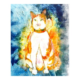 """""""Orange Tabby"""" Contemporary Modern Mixed-Media Painting by Martha Holden For Sale"""