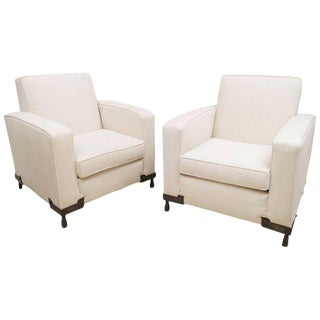 Etienne Kohlmann Pair of Upholstered Club Chairs For Sale