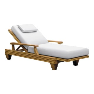 Giati Palazzio Chaise Lounge in Natural Canvas For Sale