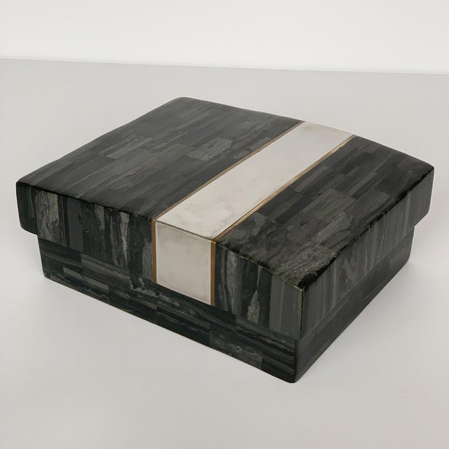 1980s Karl Springer Tessellated Stone, Chrome and Brass Box For Sale - Image 5 of 13