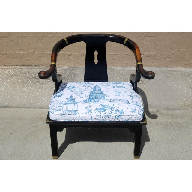 Vintage James Mont Black Lacquer Ming Chair For Sale - Image 11 of 13