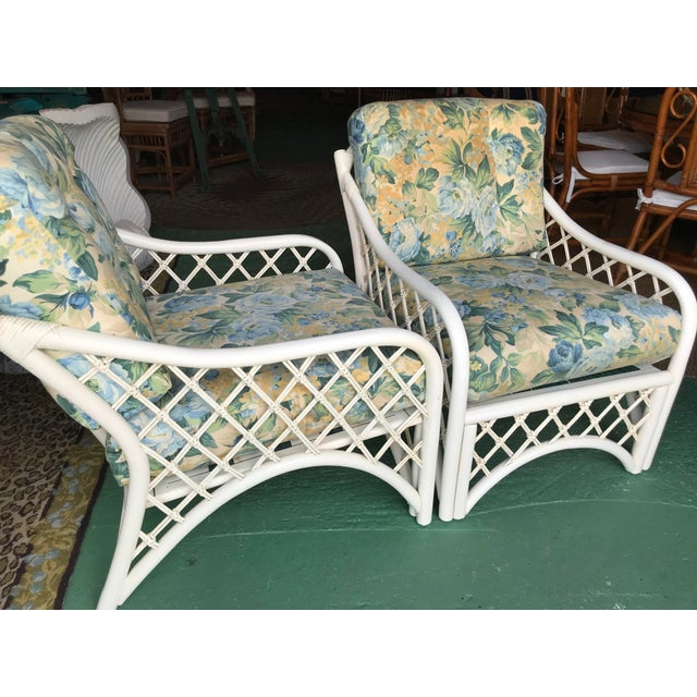White Vintage Coastal Criss Cross Rattan Lounge Chairs-A Pair For Sale - Image 8 of 11