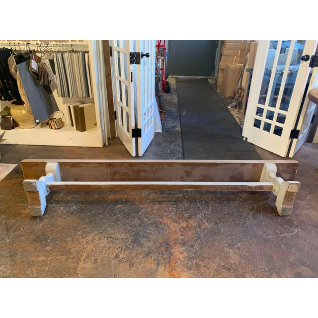 Vintage Mid Century French Blue-Gray Trestle Bench For Sale - Image 12 of 13