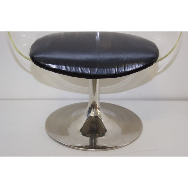 Mid-Century Lucite & Black Vinyl Chair For Sale - Image 4 of 4