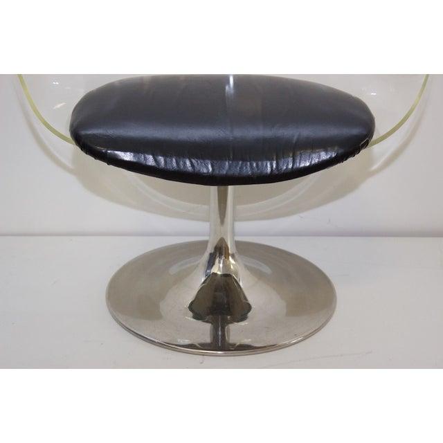 Mid-Century Lucite & Black Vinyl Chair - Image 4 of 4