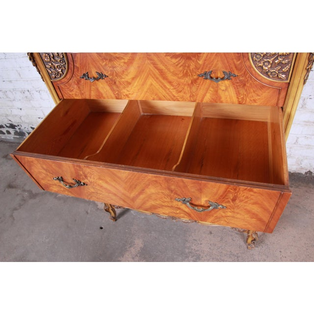 Romweber French Provincial Louis XV Burled Mahogany Highboy Dresser For Sale - Image 10 of 13