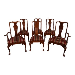 Stickley Queen Anne Style Set 6 Cherry Dining Chairs For Sale