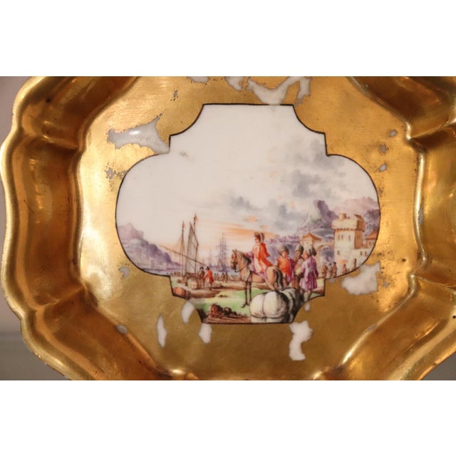 18th Century Gilded Collectible Antique Porcelain Plate Meissen, 1720s For Sale - Image 6 of 10