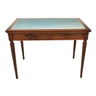 Antique French Louis XVI Style Mahogany Bureau Plat Writing Desk Table For Sale