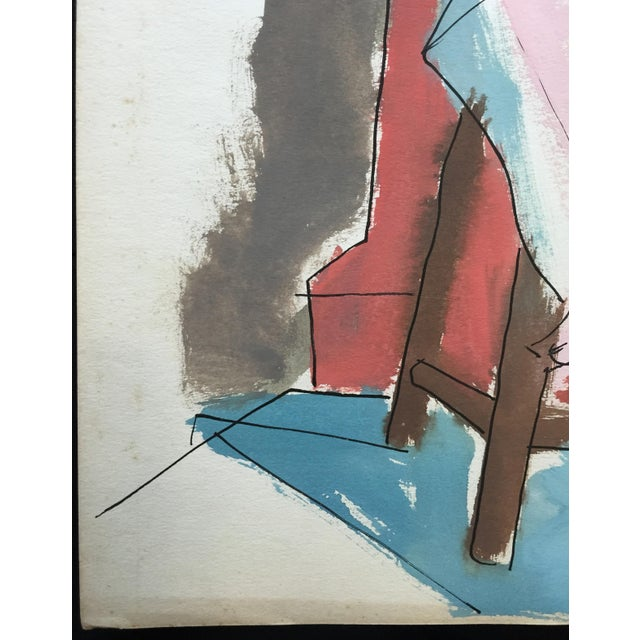 "1950s C 1950s Bay Area Figurative Painting ""Slit"" For Sale - Image 5 of 6"