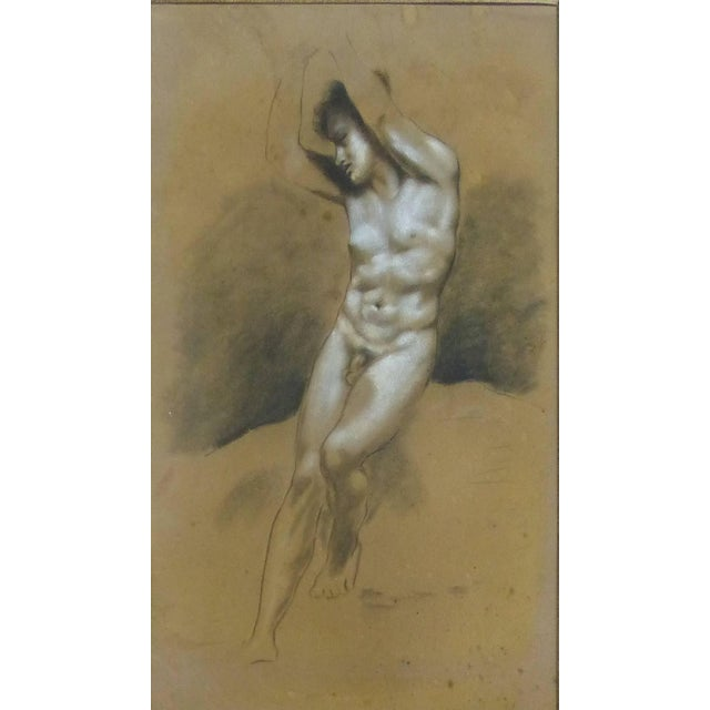 Drawings of Male Nude Figures Attributed to Francois Boucher, Circa 1750 - a Pair For Sale - Image 4 of 11