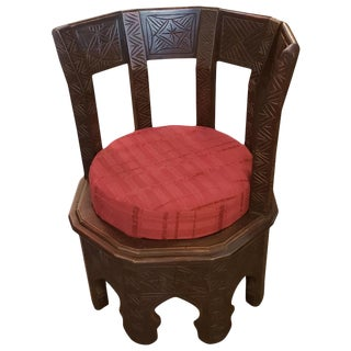 Moroccan Handmade Cedar Wooden King Chair For Sale