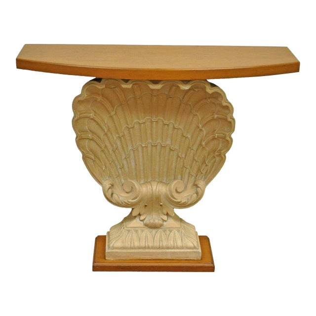 1940s Hollywood Regency Plaster Shell Form Console Hall Table For Sale