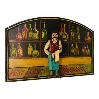 Wine & Spirits Merchants Painted Wood Pub Sign For Sale