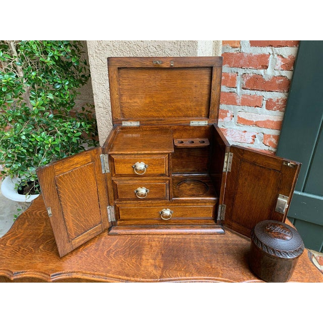 Wood Antique English Tiger Oak Pipe Smoke Cabinet Card Game Box Humidor Lift Top For Sale - Image 7 of 13