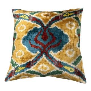 Silk Uzbek Ikat Velvet Hand Made Square Pillow Cushion,19x19 For Sale